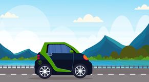 Electric car driving highway road eco friendly vehicle clean transport environment care concept beautiful mountains. River landscape background horizontal flat stock illustration