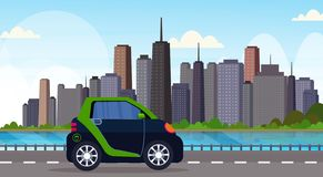 Electric car driving highway road eco friendly vehicle clean transport environment care concept modern cityscape. Background horizontal flat vector illustration royalty free illustration