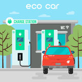 Electric Car. Eco Car on Charging Station Stock Images