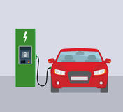 Electric car and electric charging station. Flat vector illustration royalty free illustration