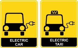 Electric car / Electric taxi - sign Royalty Free Stock Photo