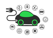 Electric car and electric vehicle concept as  illustration. Car with power plug to enable electric charging Stock Photos