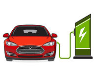 Electric car and filling station. Electric vehicle and electric filling station. Sign, symbol Royalty Free Stock Photo