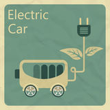 Electric car. Flat retro style concept Stock Image