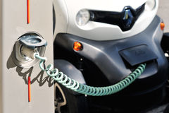 The electric car in Free Recharging Station Stock Photo