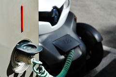 The electric car in Free Recharging Station Royalty Free Stock Photography