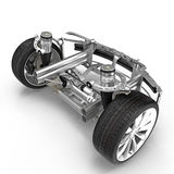 Electric Car Front Axle with new tire isolated on white. 3D illustration. Electric Car Front Axle with new tire isolated on white background. 3D illustration Stock Photos