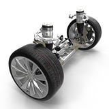 Electric Car Front Axle with new tire isolated on white. 3D illustration. Electric Car Front Axle with new tire isolated on white background. 3D illustration Stock Image