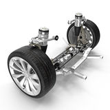 Electric Car Front Axle with new tire isolated on white. 3D illustration. Electric Car Front Axle with new tire isolated on white background. 3D illustration Royalty Free Stock Photo