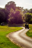 Electric car on the golf course, active leisure, quiet sport, re Stock Photo