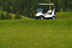 Electric car golf resort. A white electric car in the golf resort Stock Images