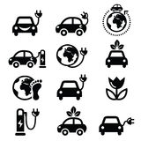Electric car, green or eco transport icons set Royalty Free Stock Photo