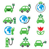 Electric car, green or eco transport icons set Royalty Free Stock Image