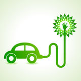 Electric car with green tree concept Royalty Free Stock Photos