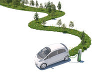 Electric car growing nature on its path Royalty Free Stock Image