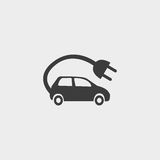 Electric car Icon in a flat design in black color. Vector illustration eps10 Royalty Free Stock Photography