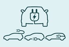 Electric car icon set. Electrical cable plug charging vehicle symbol. Vector illustration stock illustration