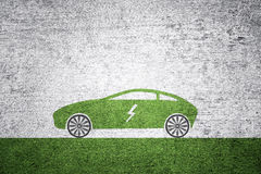 Electric car icon textured background Stock Photography