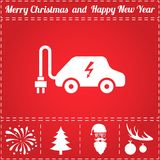 Electric car Icon Vector. And bonus symbol for New Year - Santa Claus, Christmas Tree, Firework, Balls on deer antlers stock illustration