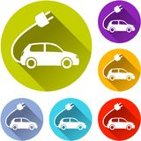 Electric car icons stock illustration