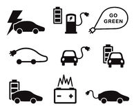 Electric car icons vector set Stock Photography