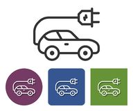 Electric car line icon. In different variants vector illustration