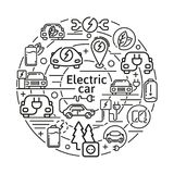 Electric car linear vector icons concept. Eco energy elements in thin line design. Royalty Free Stock Photography