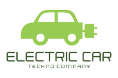 Electric car logo. Logo design of car in electric power Royalty Free Stock Image