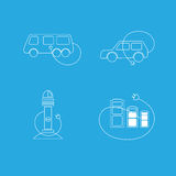 Electric car logo. In white color on blue background. Vector illustration Stock Photo