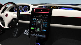 Electric car multimedia console UI interface demonstration stock video footage