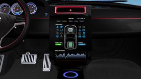 Electric car multimedia interface design concept. Demonstration of  electric car console UI design. Using touch interactive interface, user can easy to stock video