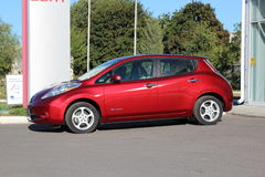 Electric car. Red color. royalty free stock image