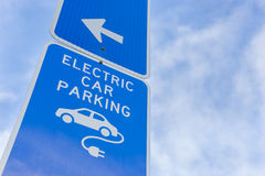 Electric car parking sign Stock Photo
