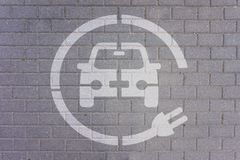 Electric car. Electric Parking Station, Parking space : charge points for electric car royalty free stock photography
