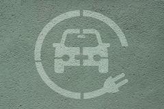 Electric car. Electric Parking Station Parking space : charge points for electric car royalty free stock photos