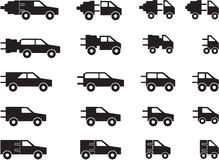 Electric car pictogram`s royalty free stock photography