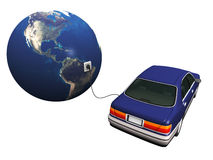 Electric car plugged in to earth. An electric car plugged in with a cord to the earth, charging it's Royalty Free Stock Photos