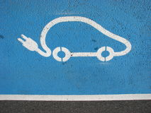 Electric car recharging point. Designated recharging point for electric vehicles Stock Photography