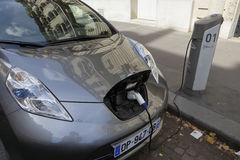 Electric car is recharging, Renault, in Paris, France, August 2015 Stock Photo