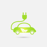 Electric car in refill icon, vector. Eco transportation. Royalty Free Stock Photo