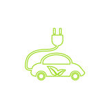Electric car in refill icon, vector. Eco transportation. Royalty Free Stock Image