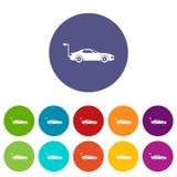 Electric car set icons Stock Photos