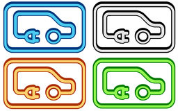 Electric car set Royalty Free Stock Image