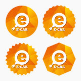 Electric car sign icon. Electric vehicle symbol. Royalty Free Stock Image