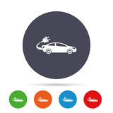 Electric car sign icon. Sedan saloon symbol. Royalty Free Stock Image