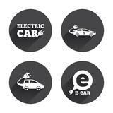 Electric car sign. Sedan and Hatchback transport Royalty Free Stock Photos