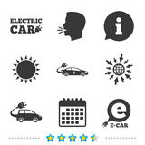 Electric car sign. Sedan and Hatchback transport. Electric car icons. Sedan and Hatchback transport symbols. Eco fuel vehicles signs. Information, go to web and Royalty Free Stock Images