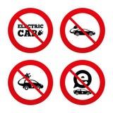 Electric car sign. Sedan and Hatchback transport Stock Image