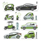 Electric vector car with solar panels eco electro transport illustration automobile socket electrical car battery. Electric car with solar panels eco electro royalty free illustration