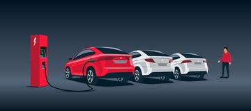 Electric Car Suv Night Charging at the Charger Station with Cars Parked. Vector illustration of a luxury red electric car suv charging at the charger station vector illustration